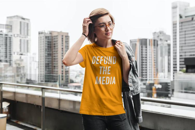 Defund The Media T-Shirt Dam Orange