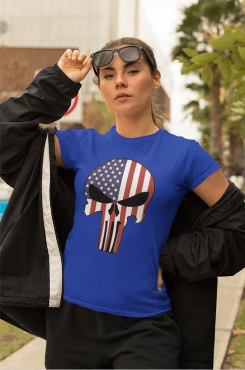 Print Tshirt women. US Skull. Tshirt US Dödsskalle