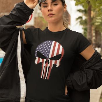 US Skull T-Shirt Dam