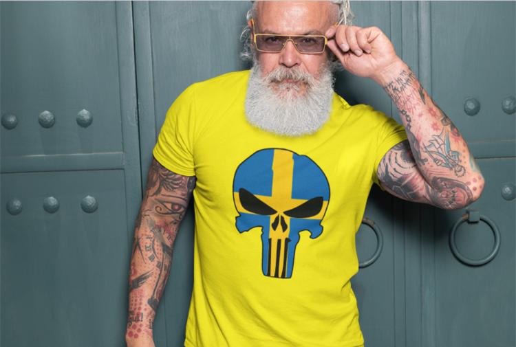 Tshirt med tryck, T-Shirt Swedish Skull