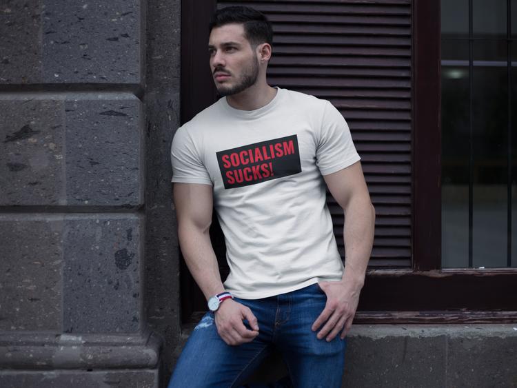 Socialism Sucks! T-Shirt. Tshirt med tryck. Kommunismen är död. Tshirt Herr. Antisocialdemokraterna T-Shirt i många färger