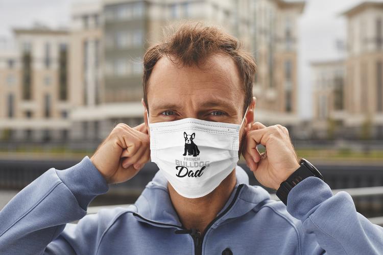 Fransk Bulldog Ansiktsmask-French Bulddog Face Mask