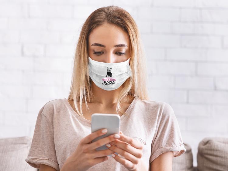 Fransk Bulldog Ansiktsmask - French Bulldog Facemask