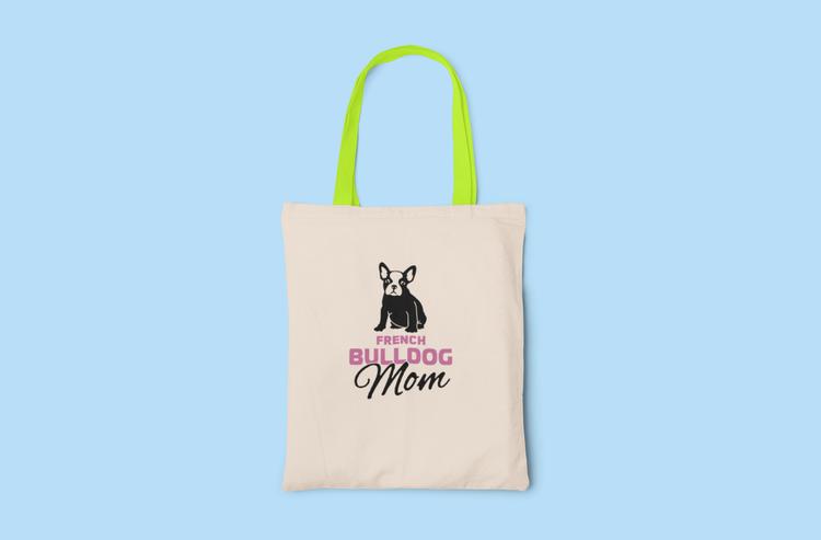 Fransk Bulldog Mom Tygkasse- French Bulldog Mom Tote Bags