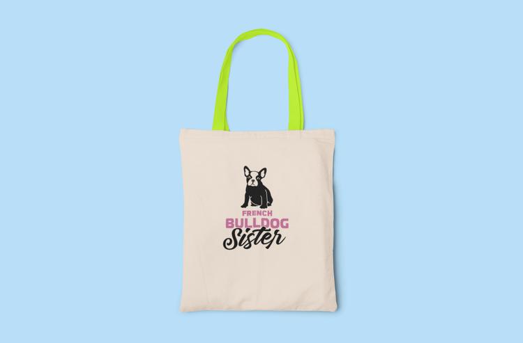 Fransk Bulldog Sister Tygkasse- French Bulldog Sister Tote Bags