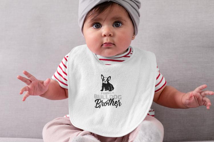 Gullig Fransk Bulldog haklapp. Oeko-Tex certifierad tryckfärg för barnets bästa.