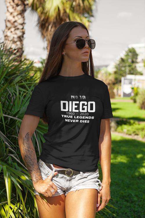 Diego Maradona Tshirt. Trur Legends Never dies
