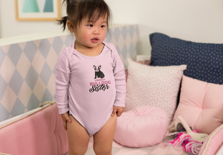 French Bulldog Family Baby Onesies-Fransk Bulldog Baby Body