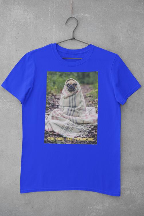 Fransk Bulldog T-Shirt, Frenchie T-Shirt Men Blue