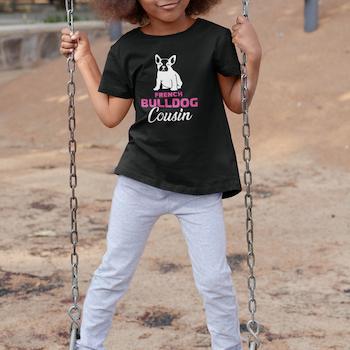 Fransk Bulldog Cousin(Pink) T-Shirt Barn