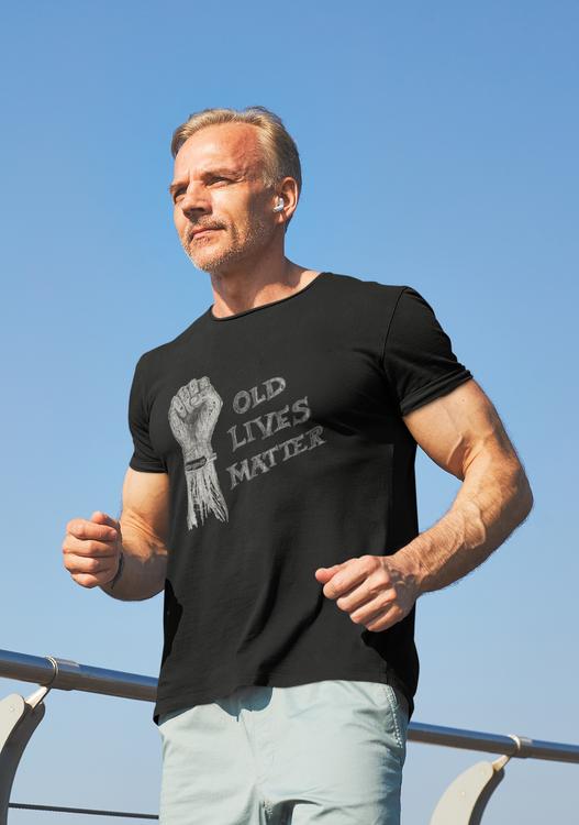 Old Lives Matter, Covid19 T-shirt Men. De äldre måste prioriteras. Tshirt för dig som vill påverka.