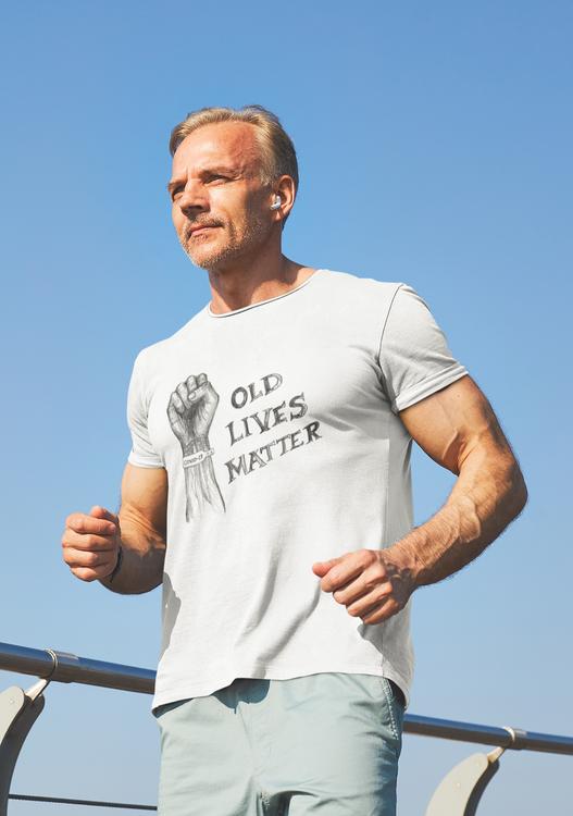 Old Lives Matter, Covid19 T-shirt Men. De äldre skall prioriteras för vaccin. Äldre skall ha rätt till ett värdigt liv.