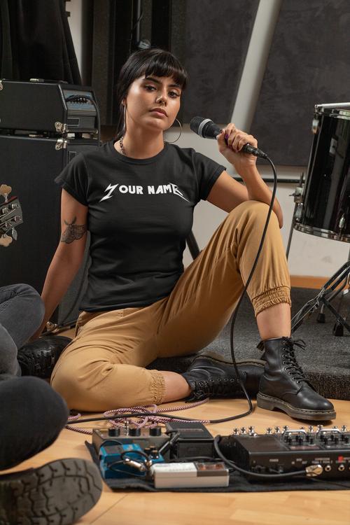 Yor Name Metallica Style T-Shirt  Dam