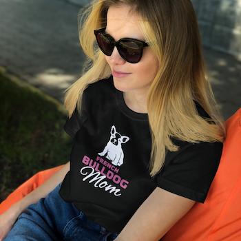 Fransk Bulldog Mom T-shirt Dam