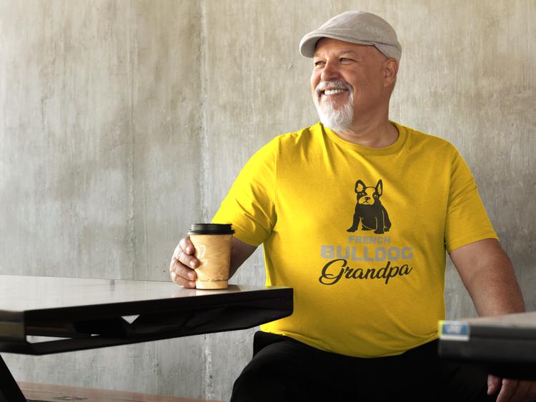 Fransk Bulldog T-Shirt, Fransk Bulldog Tshirt. Fransk Bulldog T-Shirt med tryck French Bulldog Grandpa