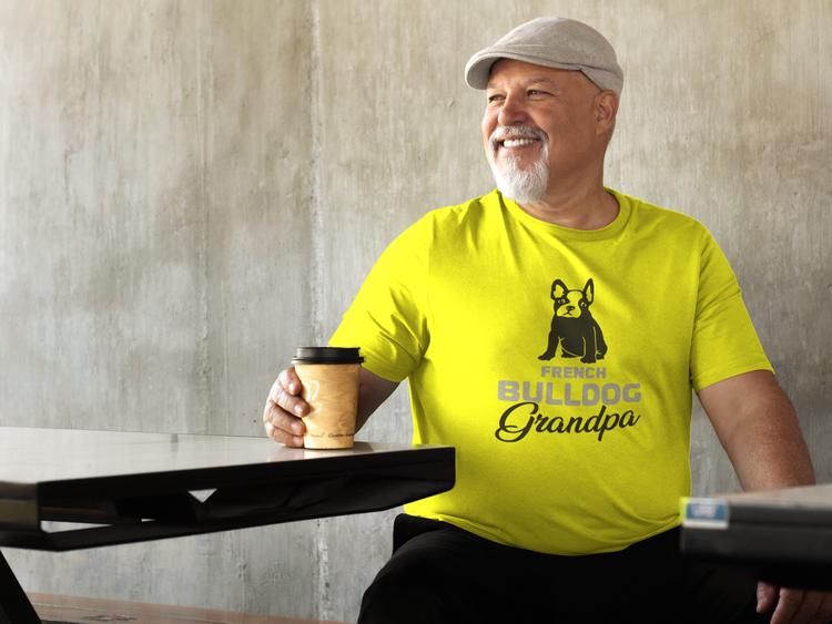 Fransk Bulldog T-Shirt, Fransk Bulldog Tshirt. French Bulldog Grandpa. Fransk Bulldog T-Shirt i många olika färger & storlekar.