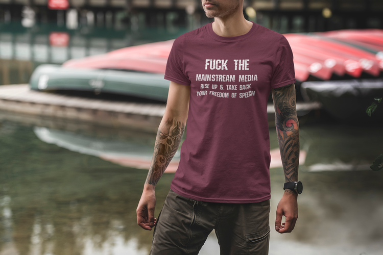 Stand up and take back your freedom of speech T-Shirt. Herr storlek. Fuck mainstreammedia