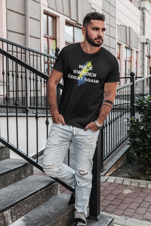Make Sweden Great Again T-Shirt. T-Shirt i olika färger. MSGA T-Shirt för män