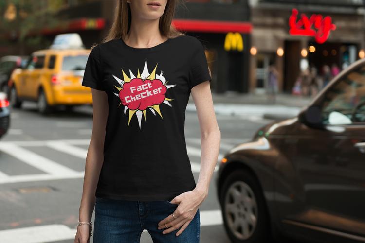 Factchecker Facebook Tshirt. Licensed Factchecker . Fctchecker companies