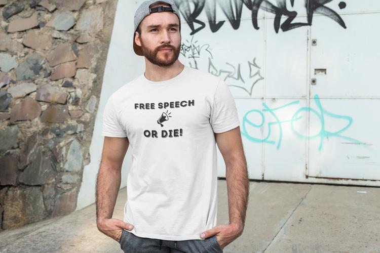 T-Shirt Herr i olika färger & storlekar med text Free Speech Or Die