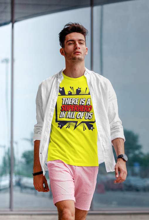 Stop The Hate Collection. Tryck Super Hero. T-Shirt Men