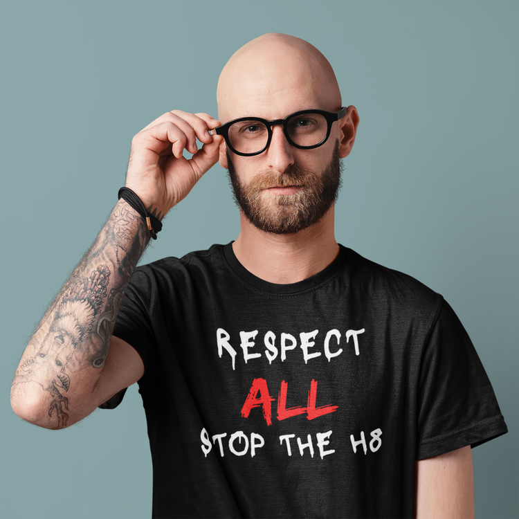 Tshirt med tryck Respect All ,Stop The Hate