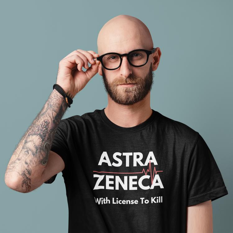 T-Shirt med tryck. AstraZeneca Vaccin. T-shirt herrstorlekar. Flera färger och storlekar för alla T-Shirts med tryck. Vi som inte skall ta Astra Zenecas Vaccin