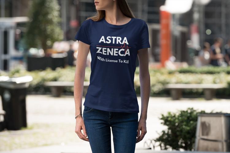 With License To Kill. AstraZeneca Tshirt