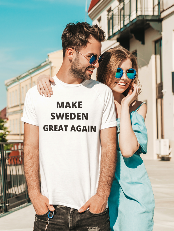Make Sweden Great Again T-Shirt. Herr. Vit. Make Sweden Great again is a revolution from the countrys own people. Make Sweden Great eccklusive T-Shirt