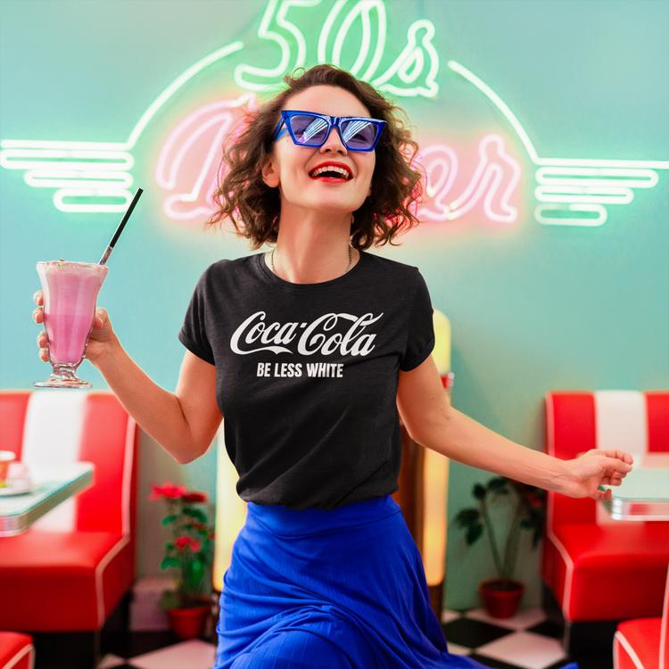 Coca-Cola T-Shirt. Women Tshirt Coca-Cola Be Less White. Oeko-Tex Certified