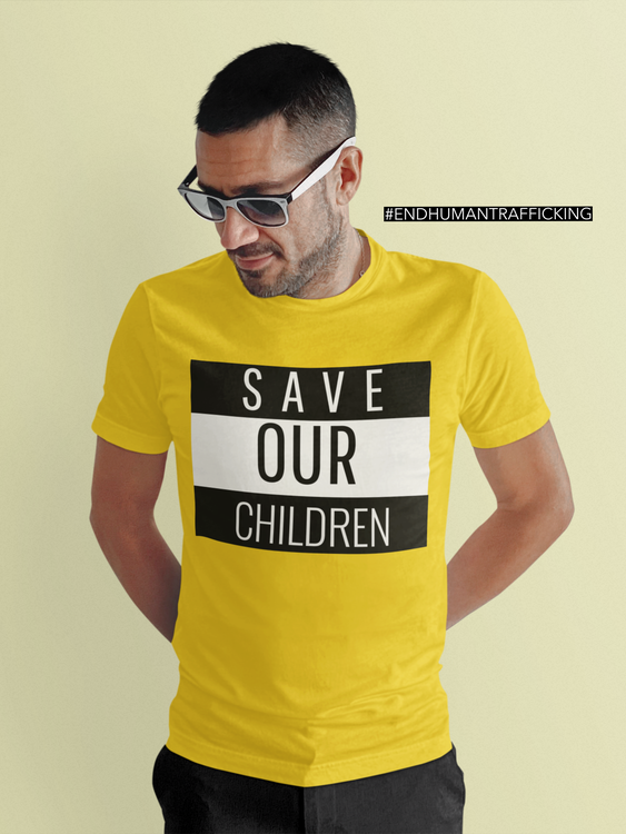 Tshirt med coolt tryck Save Our Children. Tshirt Herr med tryck