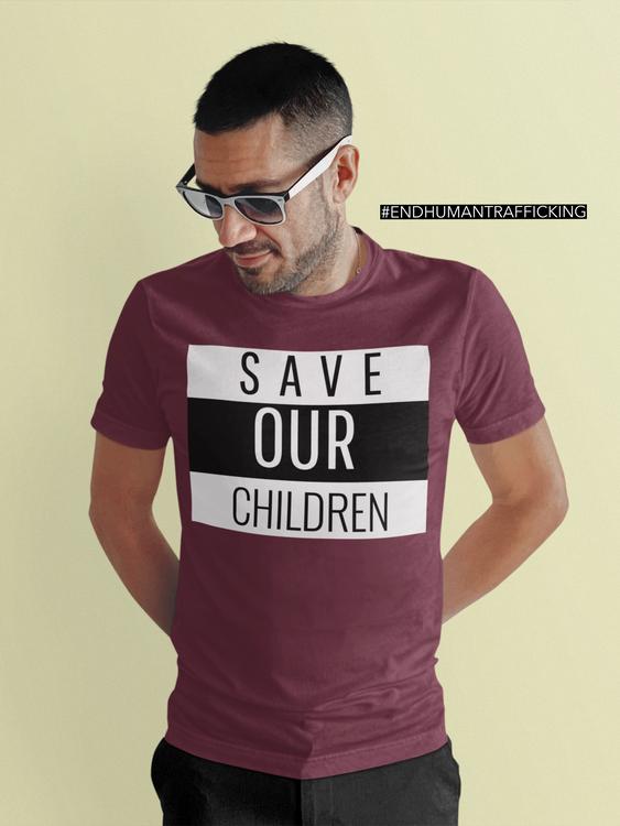 Tshirt Man Save Our Children. Plus Size storlekar. Tshirt med tryck
