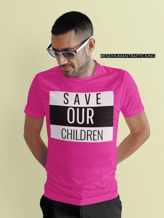 Cool Tshirt i häftig färg med text Save Our Children. End Human Trafficking