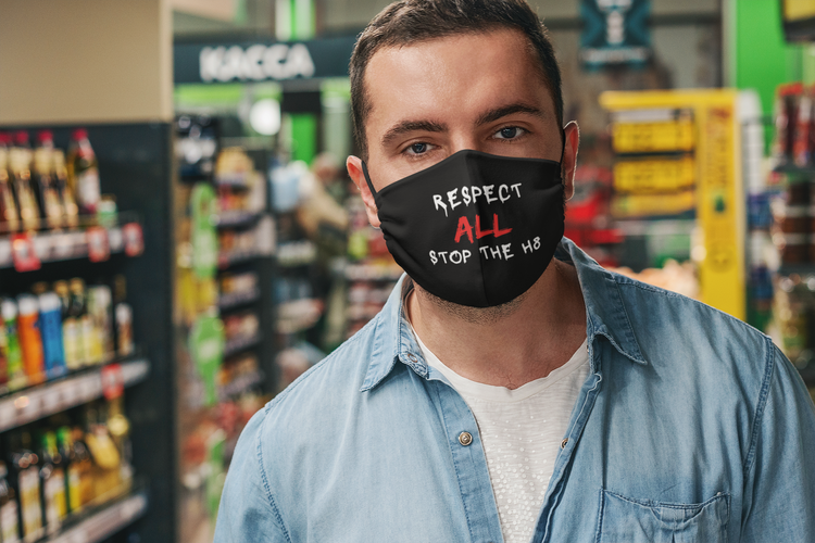 Respect All Stop The Hate Ansiktsmask. Facemask med text Respect All Stop The H8