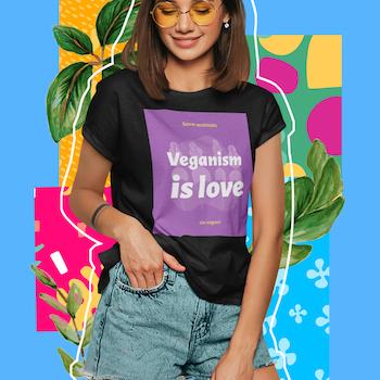 Veganism Is Love T-Shirt Dam