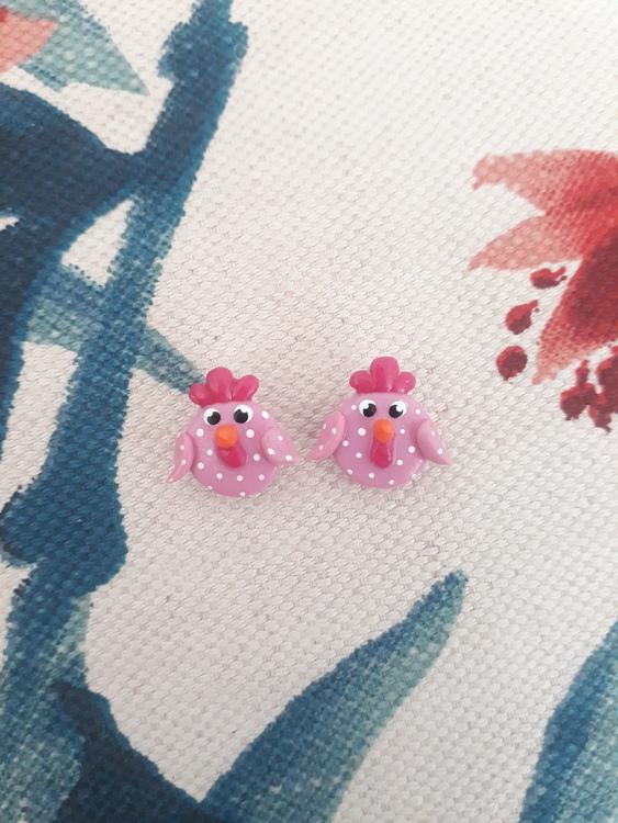 Örhängen med stift- Rosa hönor
