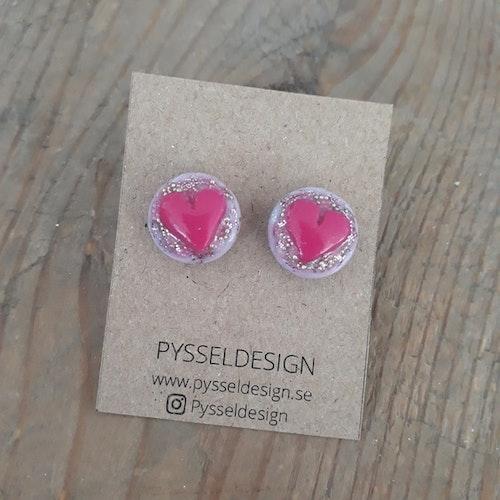 Örhängen med stift- Rosa hjärtan med glitter