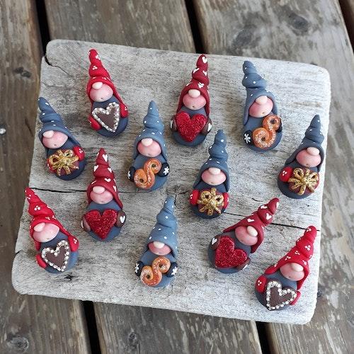 4-pack magneter- 'Klassisk jul med glitterdetaljer'