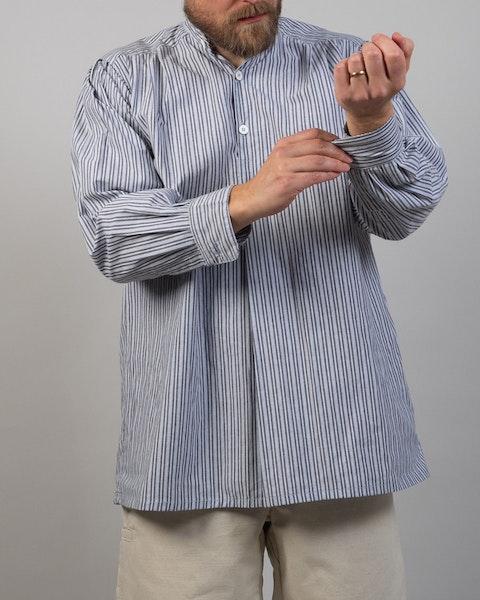 Skjorta, bomull, blårandig
