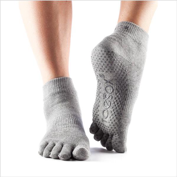 Yogastrumpor Toesox Fulltoe Ankle grip - Heather Grey - Yogia ... 88ac478a9b290