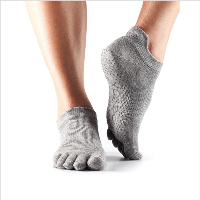 Yogastrumpor  Heather Grey  Fulltoe Lowrise Grip - Toesox