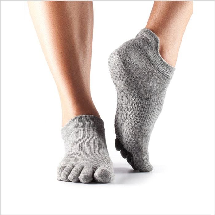 Yogastrumpor Fulltoe Low Rise Grip Heather Grey - ToeSox