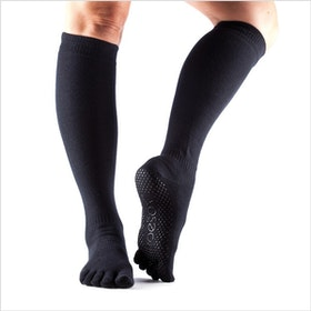 Yogastrumpor Fulltoe Scrunch Knee Black - Toesox