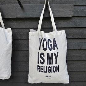 Väska Pärlvit / Blå/Svart tryck- Yoga Is My Religion - RAJ 108