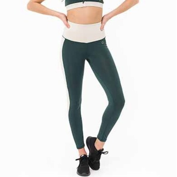 Yogaleggings Emma Racing Green & Creme - DOM
