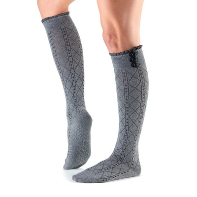 Yogastrumpor Tavi Noir Saleh Knee high Grip Socks - Tavi Fog