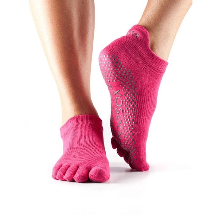 Yogastrumpor Toesox Fulltoe Lowrise Grip - Fuchsia/pink