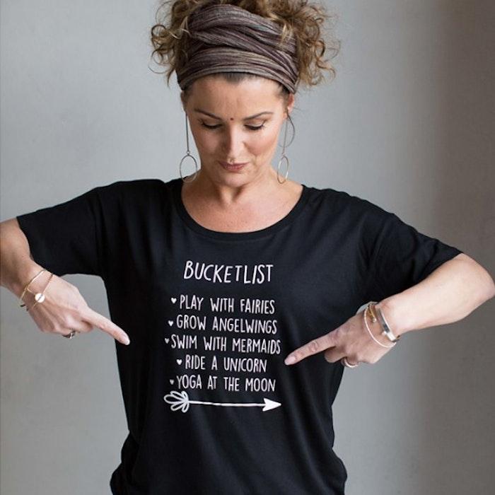 "T-shirt ""Bucketlist"" Svart - Yogia"