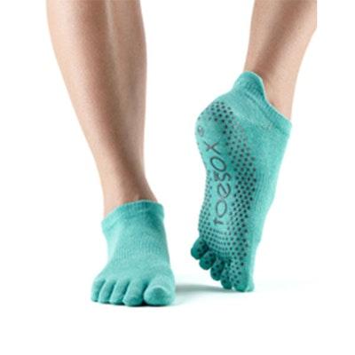 Yogastrumpor Fulltoe Low Rise Grip Aqua - Toesox