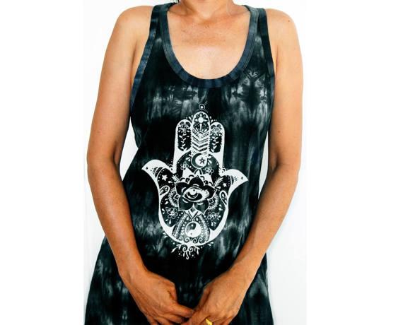 Yogalinne långt Fatimas Hand  - mörkgrå batik